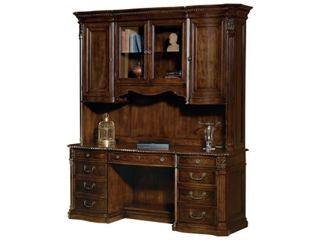 Hekman Office Old World Walnut Burl Executive Credenza Desk with Deck