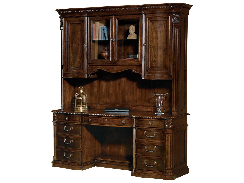 Hekman Office Old World Walnut Burl Executive Credenza Desk With Deck 7 9161 Set1