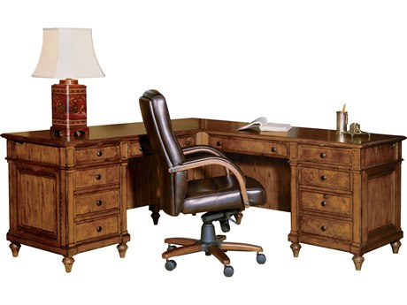 Hekman Office 72 L-Shaped Office Desk in Urban Ash Burl HK79107