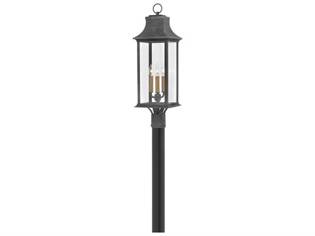 Hinkley Lighting Adair Aged Zinc Three-Light 9'' Wide Outdoor Post Light