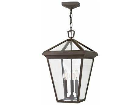 Hinkley Lighting Alford Place Oil Rubbed Bronze with Clear Glass Three-Light Outdoor Hanging Light HY2562OZ