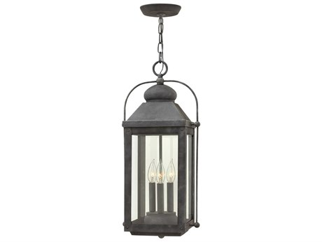 Hinkley Lighting Anchorage Aged Zinc Three-Light 11'' Wide LED Outdoor Hanging Lighting HY1852DZLL