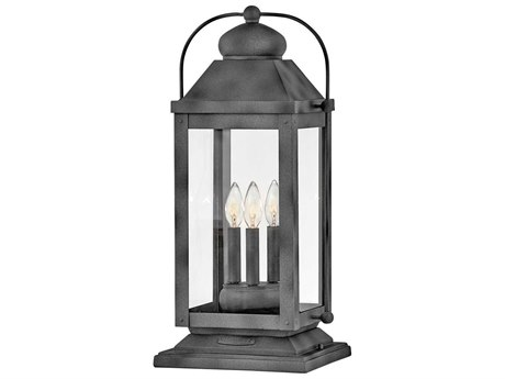 Hinkley Lighting Anchorage Aged Zinc Glass LED Outdoor Lamp