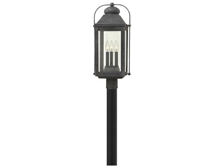 Hinkley Lighting Anchorage Aged Zinc Three-Light 11'' Wide LED Outdoor Post Light HY1851DZLL