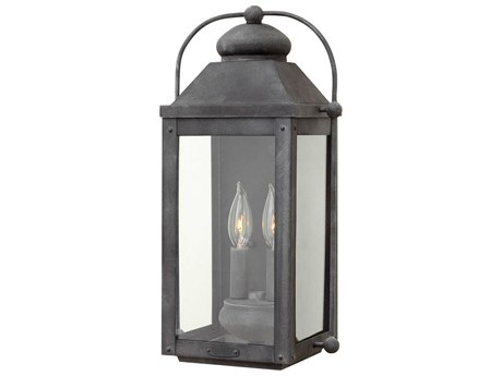 Hinkley Lighting Anchorage Aged Zinc Two-Light 9'' Wide LED Outdoor Wall Light HY1854DZLL