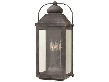 Hinkley Lighting Anchorage Aged Zinc Three-Light Outdoor Wall Light HY1855DZ