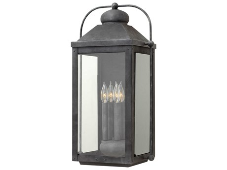 Hinkley Lighting Anchorage Aged Zinc Four-Light 13'' Wide LED Outdoor Wall Light HY1858DZLL