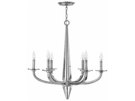 Hinkley Lighting Ascher Polished Nickel Six-Light 28'' Wide Chandelier HY4756PN