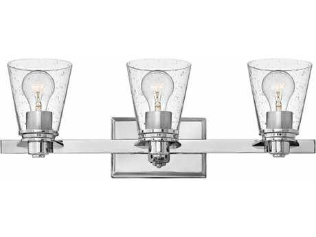 Hinkley Lighting Avon Chrome with Clear Seedy Glass Three-Light Vanity Light HY5553CMCL
