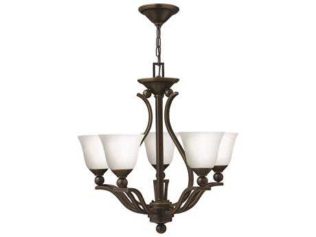 Hinkley Lighting Bolla Olde Bronze Five-Light 24 Wide Opal Glass Chandelier HY4655OBOPAL