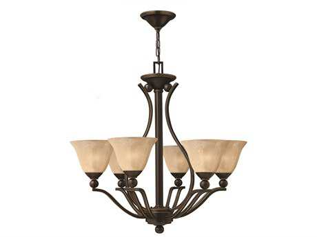 Hinkley Lighting Bolla Olde Bronze Six-Light 29 Wide Light Amber Glass Chandelier HY4656OB