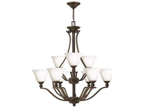 Hinkley Lighting Bolla Olde Bronze Nine-Light 35 Wide Opal Glass Chandelier HY4657OBOPAL