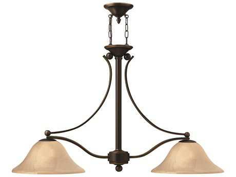 Hinkley Lighting Bolla Olde Bronze Two-Light Light Amber Glass Island Light HY4662OB