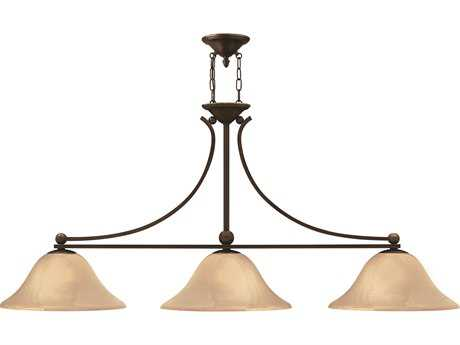 Hinkley Lighting Bolla Olde Bronze Three-Light Light Amber Glass Island Light HY4666OB