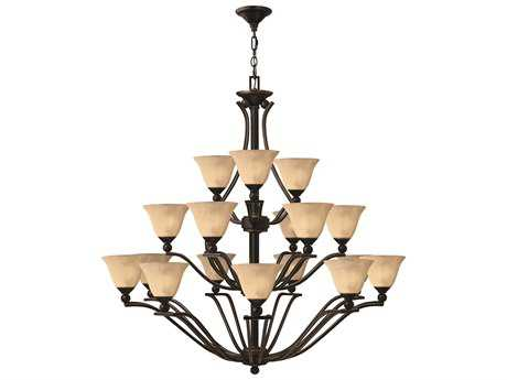 Hinkley Lighting Bolla Olde Bronze 18-Light 48 Wide Grand Light Amber Glass Chandelier HY4659OB
