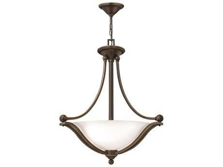 Hinkley Lighting Bolla Olde Bronze Three-Light Incandescent / Opal Glass Pendant Light HY4652OBOPAL
