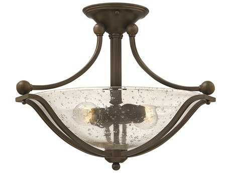 Hinkley Lighting Bolla Olde Bronze Two-Light Incandescent / Clear Glass Semi-Flush Mount Light HY4651OBCL