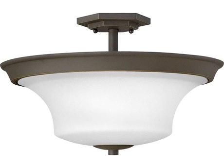 Hinkley Lighting Brantley Oil Rubbed Bronze with White Three-Light 17'' Wide Semi-Flush Mount Light