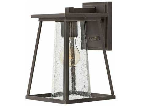 Hinkley Lighting Burke Oil Rubbed Bronze with Clear Seedy Glass Outdoor Wall Light
