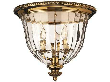 Hinkley Lighting Cambridge Burnished Brass Three-Light Flush Mount Light HY3612BB