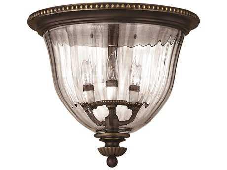 Hinkley Lighting Cambridge Olde Bronze Three-Light Flush Mount Light HY3612OB