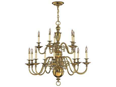 Hinkley Lighting Cambridge Burnished Brass 15-Light 37 Wide Grand Chandelier HY4417BB