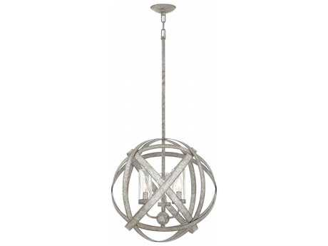 Hinkley Lighting Carson Weathered Zinc with Clear Seedy Glass Three-Light Outdoor Chandelier