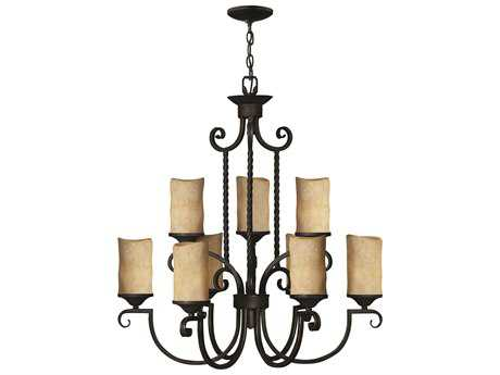 Hinkley Lighting Casa Olde Black Nine-Light 28.5 Wide Chandelier HY4018OL