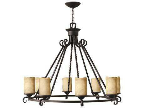 Hinkley Lighting Casa Olde Black Eight-Light 36.5 Wide Chandelier HY4308OL