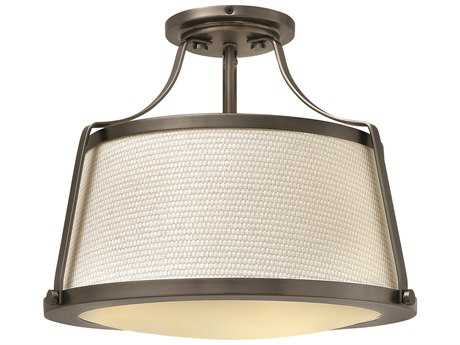 Hinkley Lighting Charlotte Antique Nickel Three-Light Semi-Flush Mount Light HY3521AN