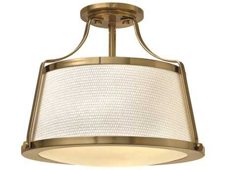 Hinkley Lighting Charlotte Brushed Caramel Three-Light Semi-Flush Mount Light HY3521BC