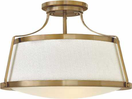 Hinkley Lighting Charlotte Brushed Caramel with Etched Opal Glass Three-Light 20'' Wide Semi-Flush Mount Light HY3522BC