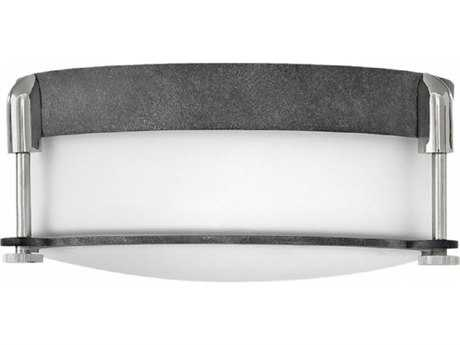 Hinkley Lighting Colbin Aged Zinc Two-light 13'' Wide Flush Mount Light