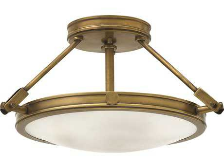 Hinkley Lighting Collier Heritage Brass Three-Light Semi-Flush Mount Light HY3381HB