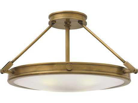 Hinkley Lighting Collier Heritage Brass Four-Light Semi-Flush Mount Light HY3382HB