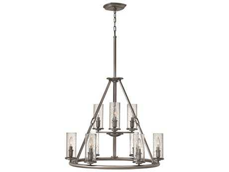 Hinkley Lighting Dakota Polished Antique Nickel Nine-Light 29 Wide Chandelier HY4789PL