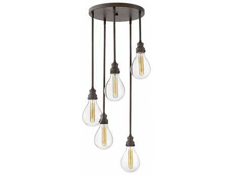 Hinkley Lighting Denton Industrial Iron with Clear Glass Five-Light 16'' Wide Pendant Light HY3265IN