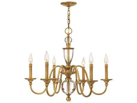 Hinkley Lighting Eleanor Heritage Brass Six-Light 27.5 Wide Chandelier HY4956HB