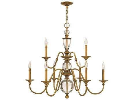 Hinkley Lighting Eleanor Heritage Brass Nine-Light 35.25 Wide Chandelier HY4958HB