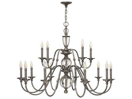 Hinkley Lighting Eleanor Polished Antique Nickel 15-Light 44.25 Wide Chandelier HY4959PL