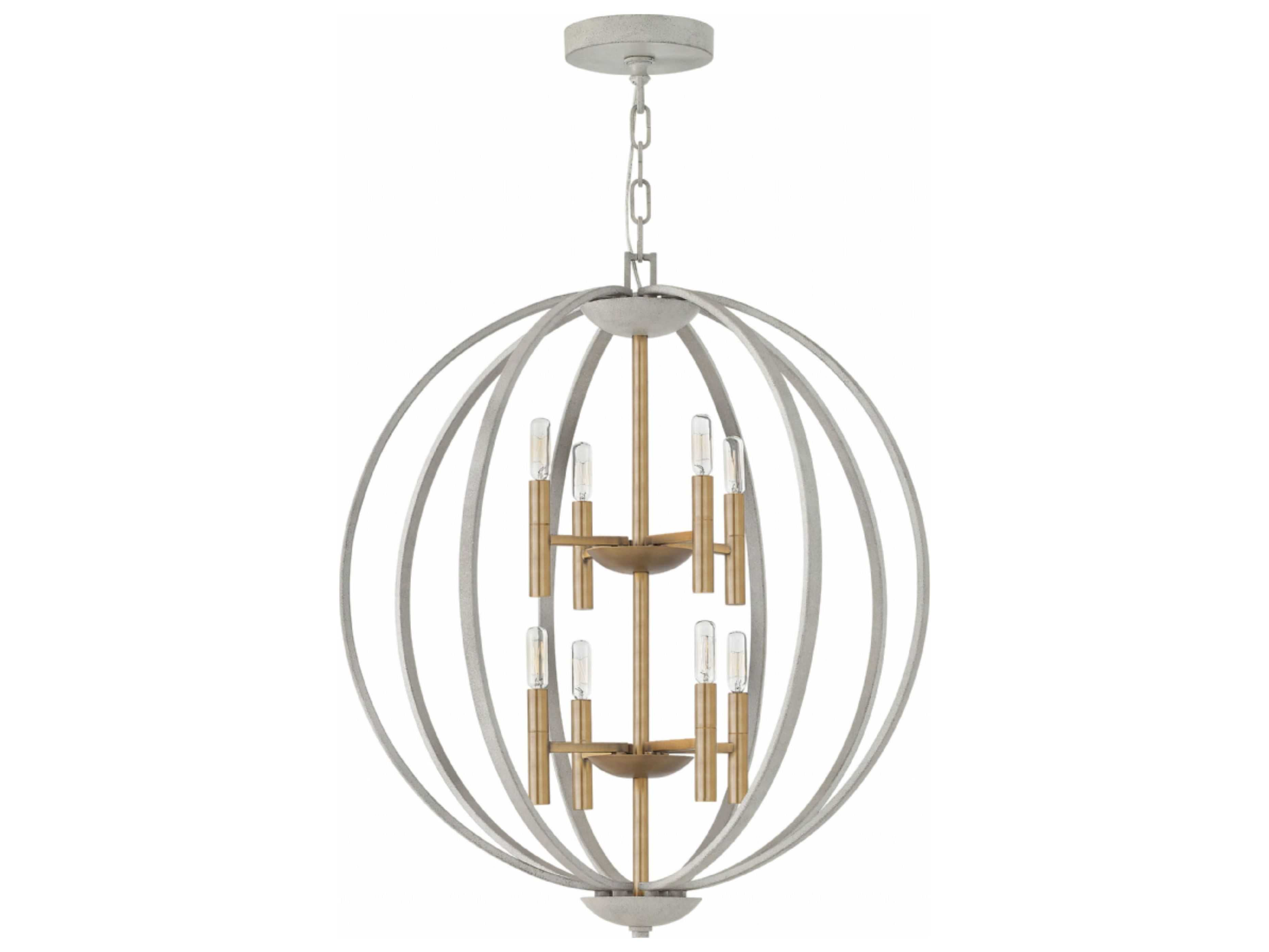 Hinkley Lighting Euclid Cement Gray Eight Light 28 Wide Chandelier