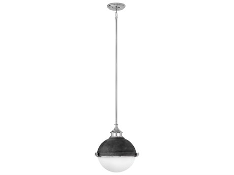 Hinkley Lighting Fletcher Aged Zinc with Polished Nickel Two-Light 14'' Wide Mini-Pendant Light HY4834DZPN