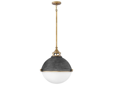 Hinkley Lighting Fletcher Aged Zinc Two-Light 18'' Wide Pendant Light HY4835DZ