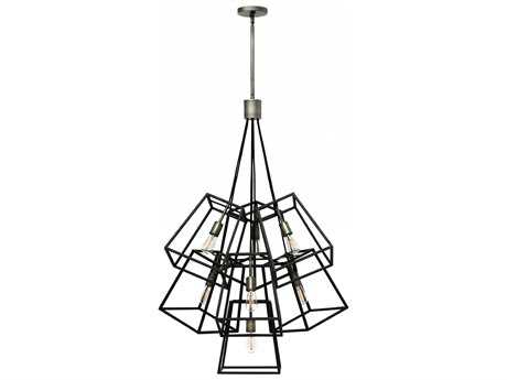 Hinkley Lighting Fulton Aged Zinc Seven-Light 27.75'' Wide Incandescent Pendant Ceiling Light HY3357DZ
