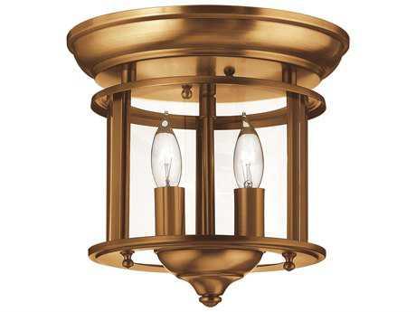 Hinkley Lighting Gentry Heirloom Brass Two-Light Flush Mount Light HY3472HR