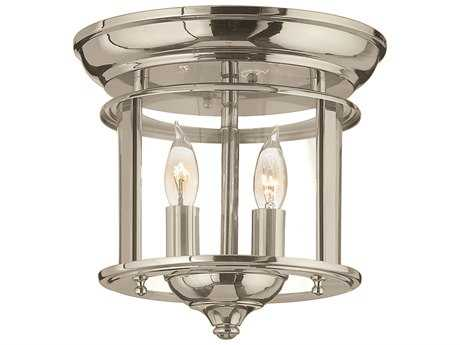 Hinkley Lighting Gentry Polished Nickel Two-Light Flush Mount Light HY3472PN