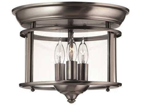 Hinkley Lighting Gentry Pewter Three-Light Flush Mount Light HY3473PW