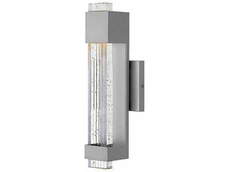 Hinkley Lighting Glacier Titanium with Clear Seedy Glass 16'' High LED Outdoor Wall Light