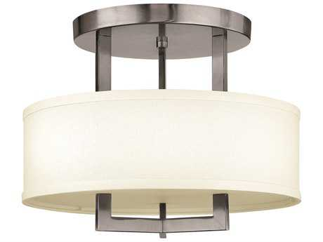 Hinkley Lighting Hampton Antique Nickel Three-Light Incandescent Semi-Flush Mount Light HY3200AN