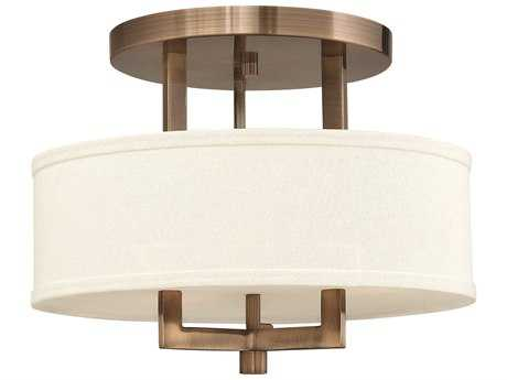 Hinkley Lighting Hampton Brushed Bronze Three-Light Incandescent Semi-Flush Mount Light HY3200BR